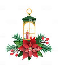 3d Render Weihnachten Grün Papierlaterne Kerze Licht Rote Weihnachtsstern Blume Festliche Ausschmückung Urlaub Dekoration Grußkarte Stockfoto Und Mehr