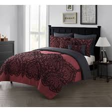vcny home flocked paisley 7 piece bedding comforter set with euro shams multiple sizes and colors available com