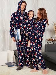 Santa Claus Printed Matching Family Christmas Pajama Sets - PURPLISH BLUE MOM XL Pajamas | Purplish Blue mom xl