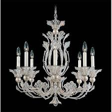 schonbek rivendell antique silver eight light chandelier with clear swarovski strass crystal