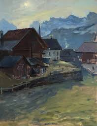 i ve just returned from painting in a beautiful mountain village in switzerland we were lucky with the beautiful sunshine at the beginning of the trip but