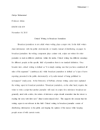 final draft essay broadcast journalism essay