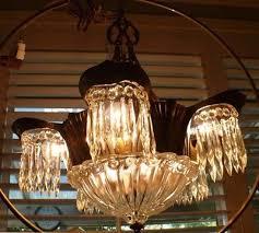 antique vintage art deco lincoln utopia crystal chandelier 1930 s