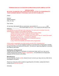 Employee Lay Off Letter Termination Due To Position Elimination Layoff Letter Sample