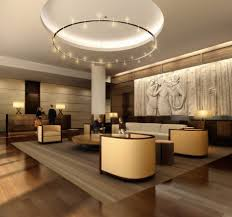Modern Brown Hotel Lobby Design Ideas With Round Dark Light At The Top And  Great Small Furniture Chairs