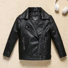 good quality solid black boys leather jacket autumn winter wind and water proof faux leather cool children s er kids clothing clothes kids parka jacket