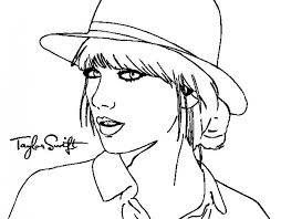 Taylor Swift Coloring Sheets Taylor Swift With Her Hat Coloring Page