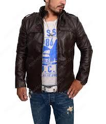 men s dark brown biker jacket