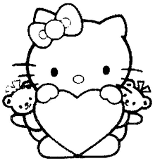 Growth Hello Kitty Colouring In Heart Free Coloring Page Kids Pages