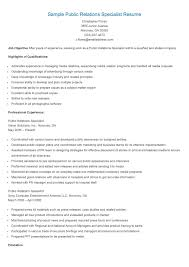 Sample Public Relations Specialist Resume Resame Pinterest