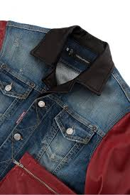 dsquared stretch cotton denim leather jacket