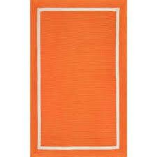 braided gwenyth solid border orange indoor outdoor 7 ft