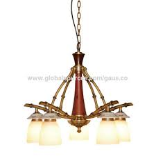 china shenzhen chandelier lamp with e27x3 antique brass iron red wood pendant light with 3