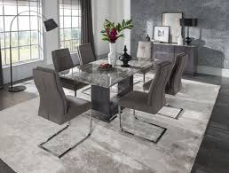 donatella 1 8 marble dining table and 6 grey donatella chairs