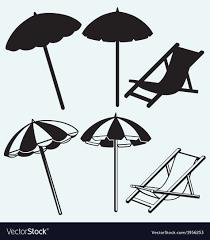 beach umbrella. Chair And Beach Umbrella Vector Image