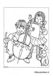 Kinderen Maken Muziek 2 Kleurplaat Op Kleuteridee Kids Making