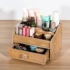 diy wooden makeup storage box organizer for jewelry cosmetic case office supplies desktop organizer holder container with drawer