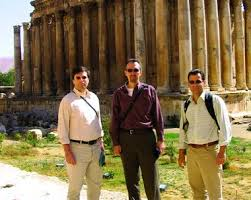CCK participants Wolfgang Fischer-Bossert and Peter van Alfen with conference organizer Martin Huth at Baalbek in Lebanon - baalbek