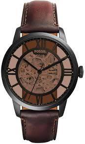 fossil automatic townsman dark brown leather strap watch 44mm me3098