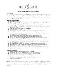 front desk receptionist job description customer service job description resume