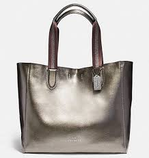 coach large derby tote in metallic pebble leather nwt