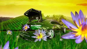 lexus ls460 crystal nature flowers car
