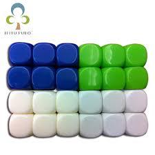 <b>6pcs 6</b> sided 16mm <b>white</b> ROUND corners blank dice can be written ...