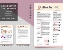 A4/Letter Resume Templates - Modern Resume - CV Template - Application - Portfolio  Resume