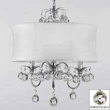 contemporary 3 light chrome chandelier with white shade and 40mm crystal