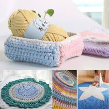 Hand Knitting Blanket Basket Rugs Wool Yarn DIY Crochet Mats Elastic Cloth
