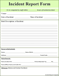 Injury Incident Report Template Child Care Injury Incident Report