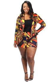 plus size short sets lively tribal print blazer plus size short set slayboo
