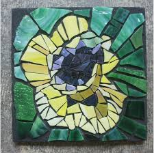 yellow poppy original stained glass
