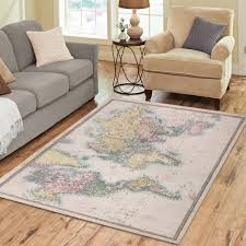 interestprint home decoration multicolor world map art area rug cover 7 x 5