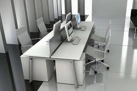 office image interiors. Grey Themed Office Interior With Contemporary Tiling And White Desks Image Interiors