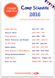 Summer Camp Weekly Schedule Free Summer Camp At Home No Time For Flash Cards