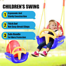 3 in 1 baby toddler swing seat detachable high back safety play toy outdoor