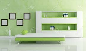 White And Green Living Room Green And White Living Room With Modern Bookcase Rendering Stock