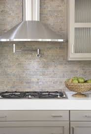 Small Picture kitchens pot filler tumbled linear stone tiles backsplash taupe