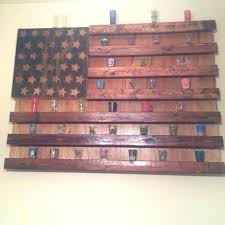 rustic flag shot glass display completed build a shelf wall collection ideas