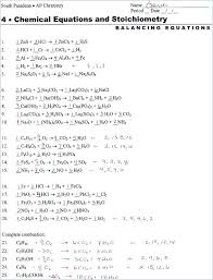 balancing chemical equations chemistry practice equation worksheet