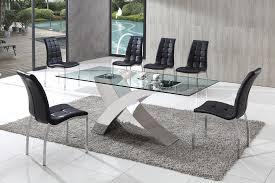 brizoni glass dining table with white amari dining chairs amazing of dining table sets glass