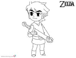 Cute Toon Link From Zelda Coloring Pages Free Printable Coloring Pages
