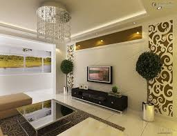 Stylish Pop Ceiling Designs For Living Room With Flat Screen