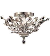 details about 4 light 20 flush mount crystal leaf chandelier bedroom bathroom hallway fixture
