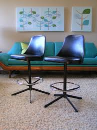 mid century modern cosco high back swivel bar stools with orbital chrome foot rest and