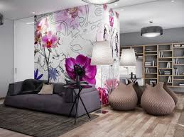 Wallpaper Living Room Designs Floral Wall Mural Perfectly Addition To Any Living Room