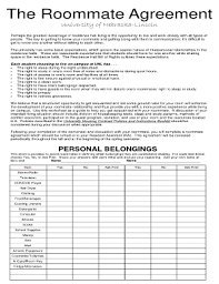 Sample Roommate Contract College Room Agreement Template Lofts At Cherokee Studios