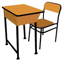 student desks for school clipart
