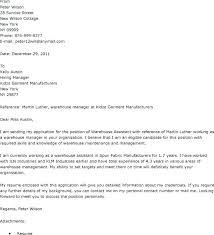 Warehouse Cover Letter For Resume Resume Letter Directory
